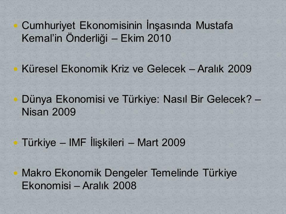 Cumhuriyet Ekonomisinin İnşasında Mustafa Kemal'in Önderliği – Ekim 2010 Küresel Ekonomik Kriz ve Gelecek – Aralık 2009 Dünya Ekonomisi ve Türkiye: Nasıl Bir Gelecek.
