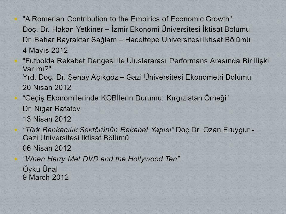 A Romerian Contribution to the Empirics of Economic Growth Doç.