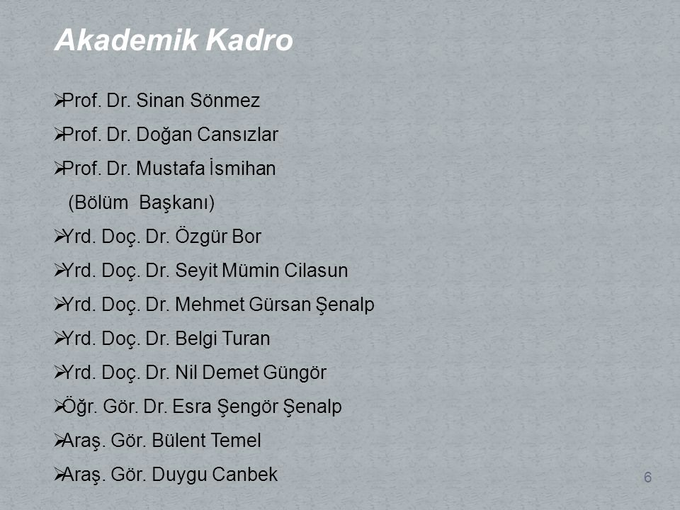 Akademik Kadro 6  Prof.Dr. Sinan Sönmez  Prof. Dr.
