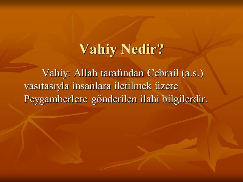 Vahiy Çeşitleri Sadık Rüya: Allah, dilediği bilgileri doğru bir rüya ile peygamberlerine bildirmiştir.