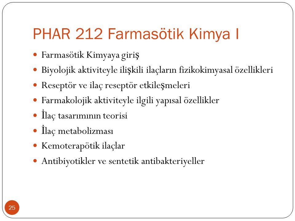 PHAR 212 Farmasötik Kimya I 25 Farmasötik Kimyaya giri ş Biyolojik aktiviteyle ili ş kili ilaçların fizikokimyasal özellikleri Reseptör ve ilaç reseptör etkile ş meleri Farmakolojik aktiviteyle ilgili yapısal özellikler İ laç tasarımının teorisi İ laç metabolizması Kemoterapötik ilaçlar Antibiyotikler ve sentetik antibakteriyeller