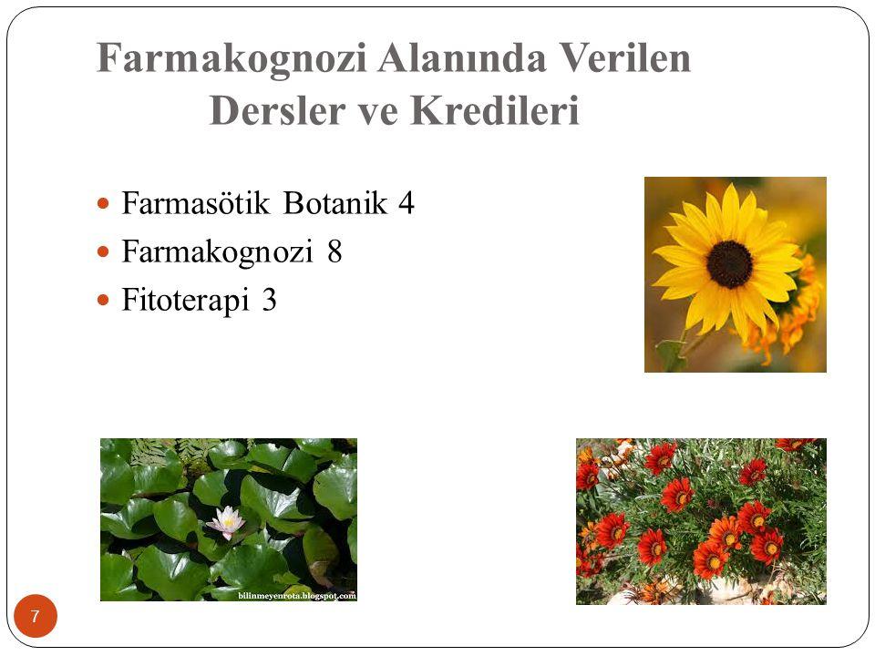 Farmakognozi Alanında Verilen Dersler ve Kredileri 7 Farmasötik Botanik 4 Farmakognozi 8 Fitoterapi 3
