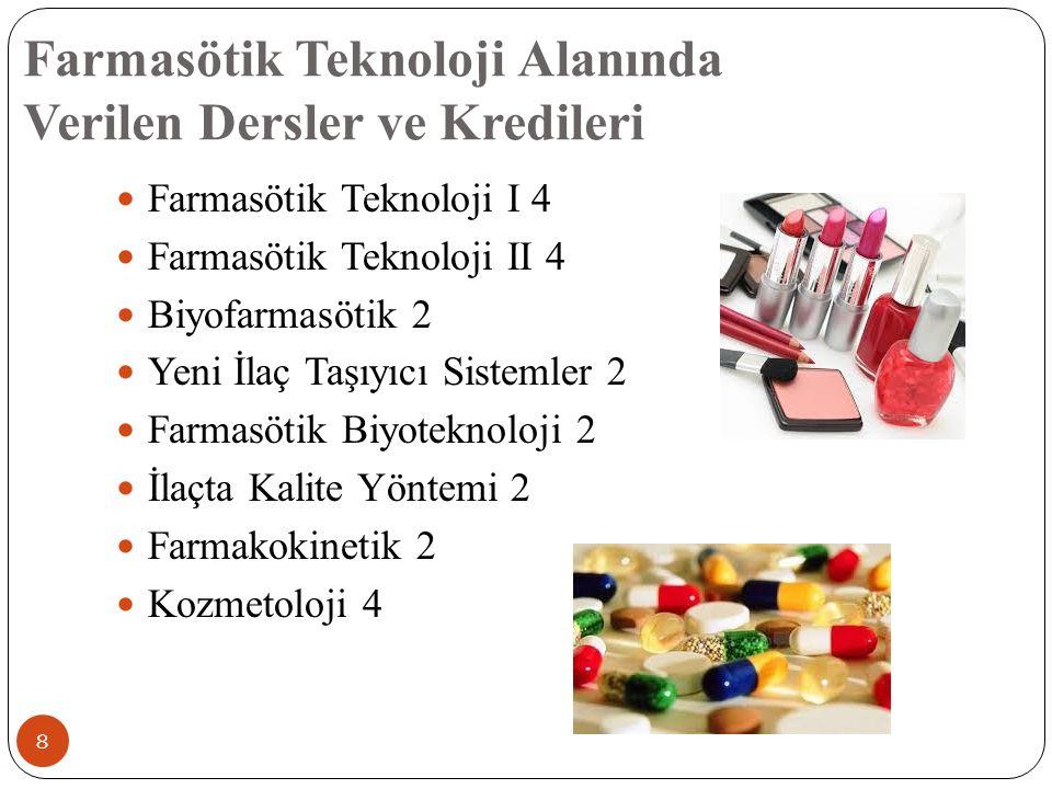Farmasötik Teknoloji Alanında Verilen Dersler ve Kredileri 8 Farmasötik Teknoloji I 4 Farmasötik Teknoloji II 4 Biyofarmasötik 2 Yeni İlaç Taşıyıcı Sistemler 2 Farmasötik Biyoteknoloji 2 İlaçta Kalite Yöntemi 2 Farmakokinetik 2 Kozmetoloji 4