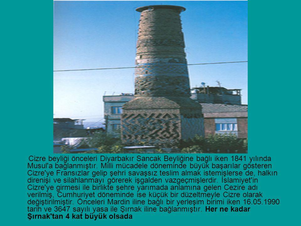 Cizre beyliği önceleri Diyarbakır Sancak Beyliğine bağlı iken 1841 yılında Musul'a bağlanmıştır. Milli mücadele döneminde büyük başarılar gösteren Ciz