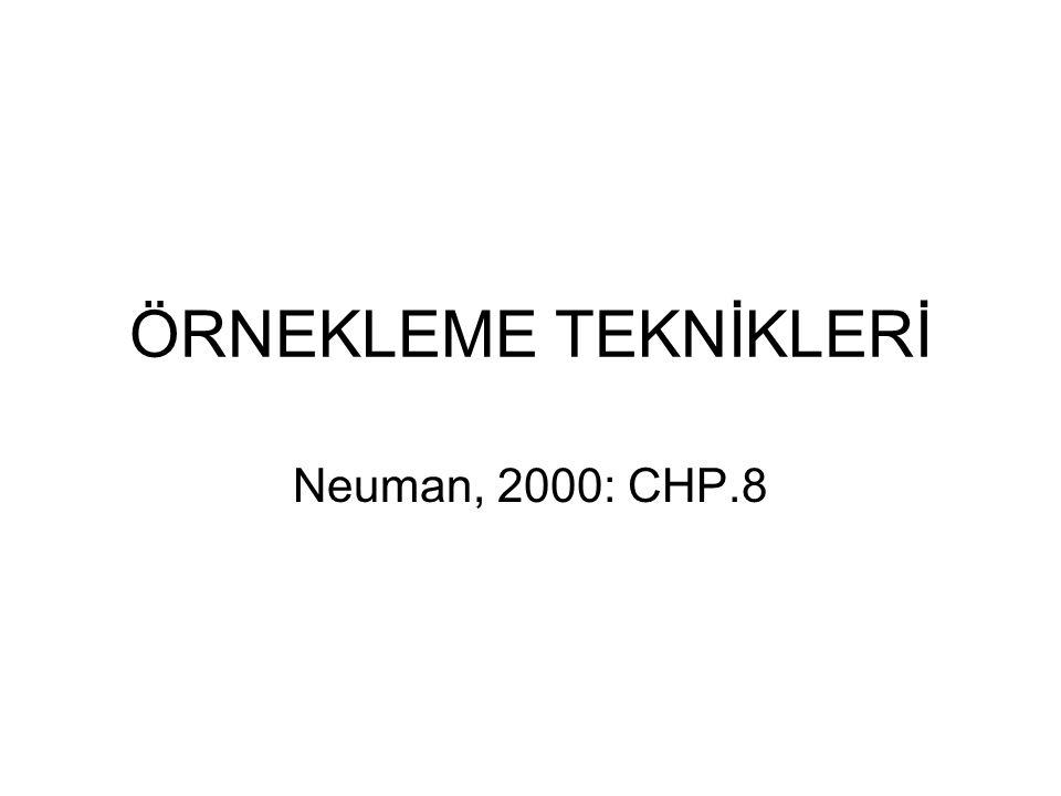 ÖRNEKLEME TEKNİKLERİ Neuman, 2000: CHP.8