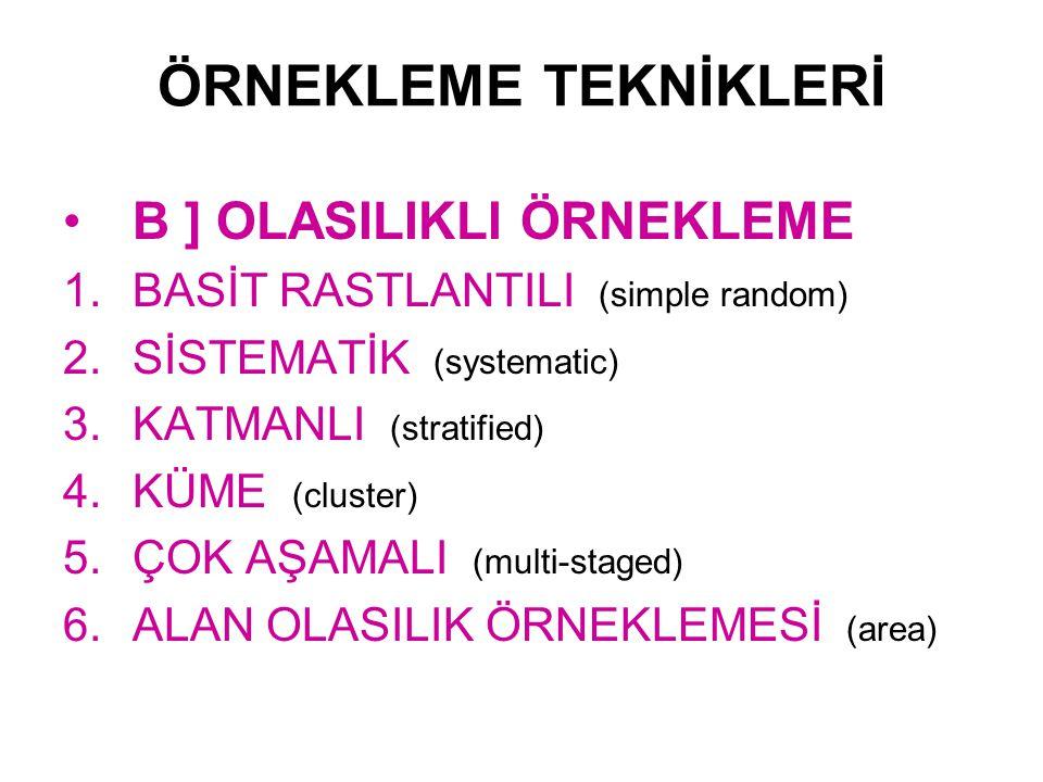 ÖRNEKLEME TEKNİKLERİ B ] OLASILIKLI ÖRNEKLEME 1.BASİT RASTLANTILI (simple random) 2.SİSTEMATİK (systematic) 3.KATMANLI (stratified) 4.KÜME (cluster) 5