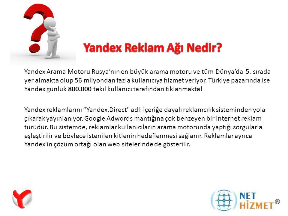 Yandex arama motoru, Google'a rakip olarak Türkiye pazarına girmiştir.