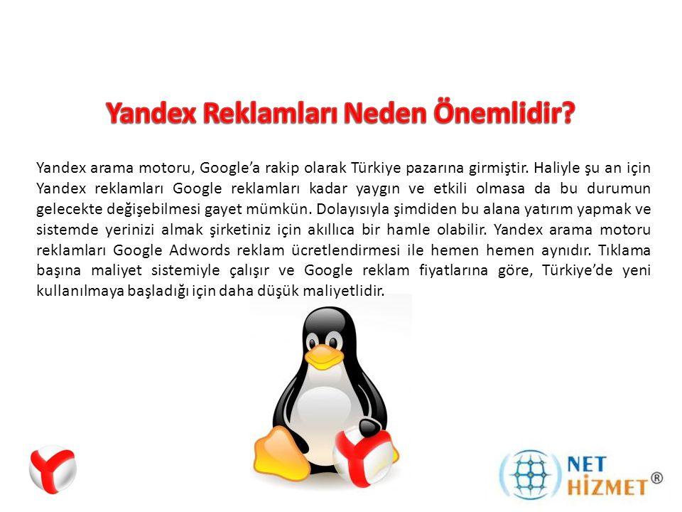 Reklamlar, Yandex sayfasının üst ve yan kısımlarındaki sarı bantlarda sponsorlu reklamlar olarak yer alır.