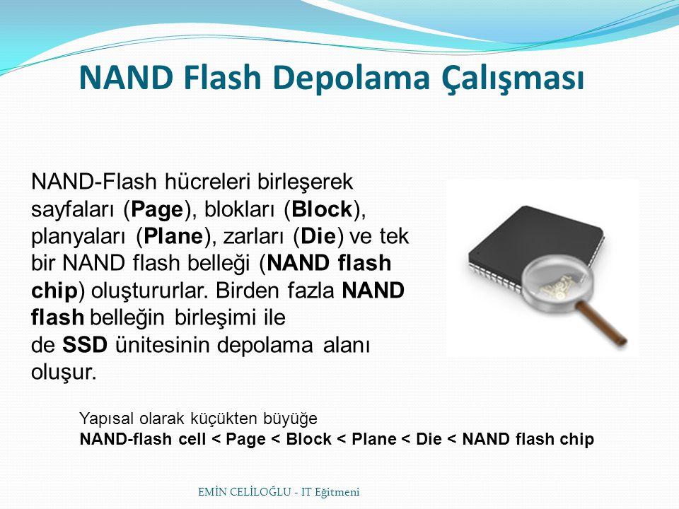 NAND Flash Depolama Çalışması NAND-Flash hücreleri birleşerek sayfaları (Page), blokları (Block), planyaları (Plane), zarları (Die) ve tek bir NAND flash belleği (NAND flash chip) oluştururlar.