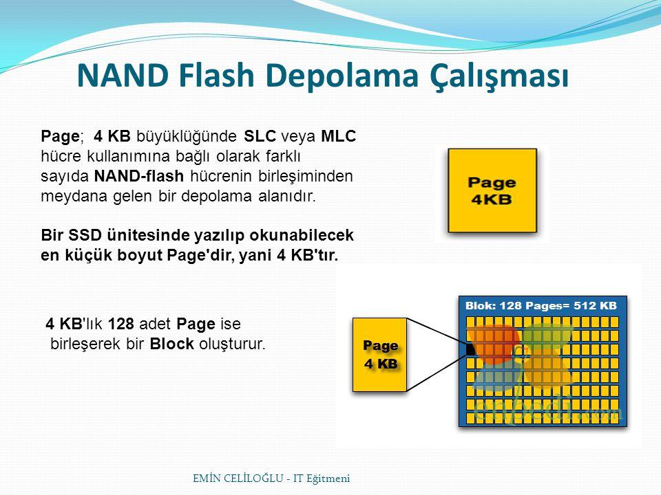 NAND Flash Depolama Çalışması Page; 4 KB büyüklüğünde SLC veya MLC hücre kullanımına bağlı olarak farklı sayıda NAND-flash hücrenin birleşiminden meyd