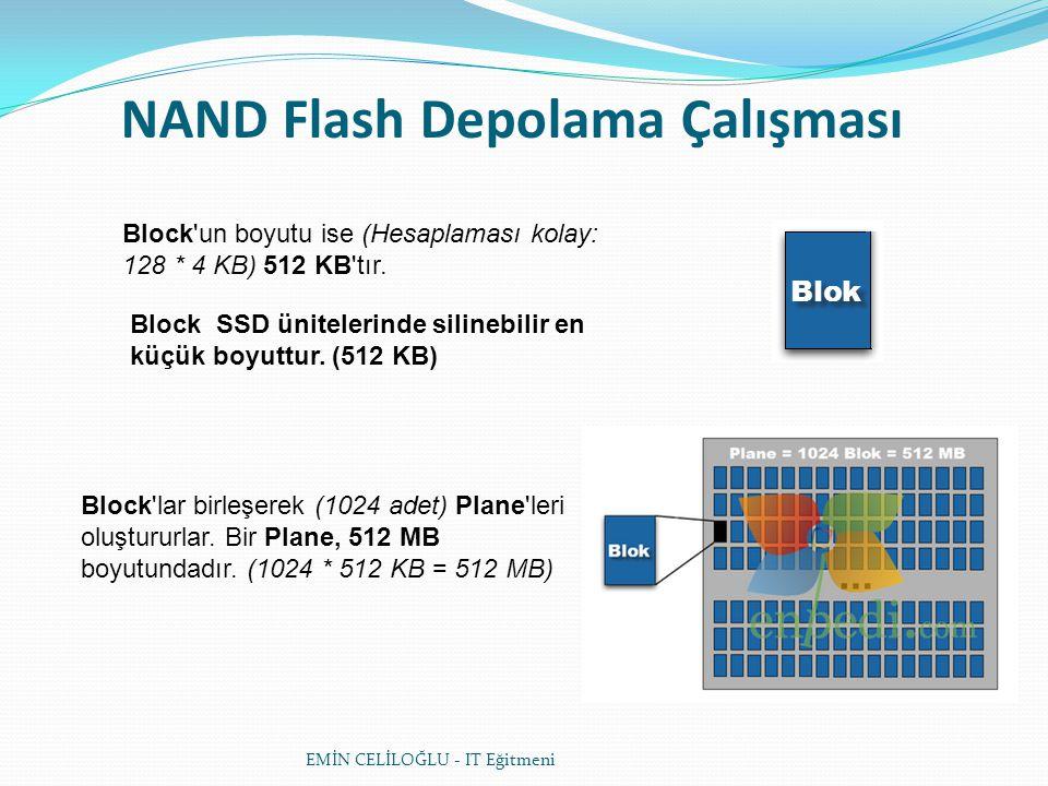 NAND Flash Depolama Çalışması Block'un boyutu ise (Hesaplaması kolay: 128 * 4 KB) 512 KB'tır. Block SSD ünitelerinde silinebilir en küçük boyuttur. (5