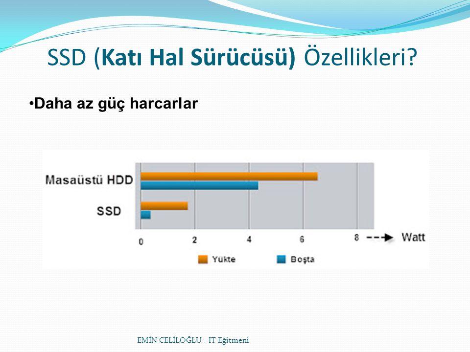 SSD (Katı Hal Sürücüsü) Özellikleri? Daha az güç harcarlar EMİN CELİLOĞLU - IT Eğitmeni