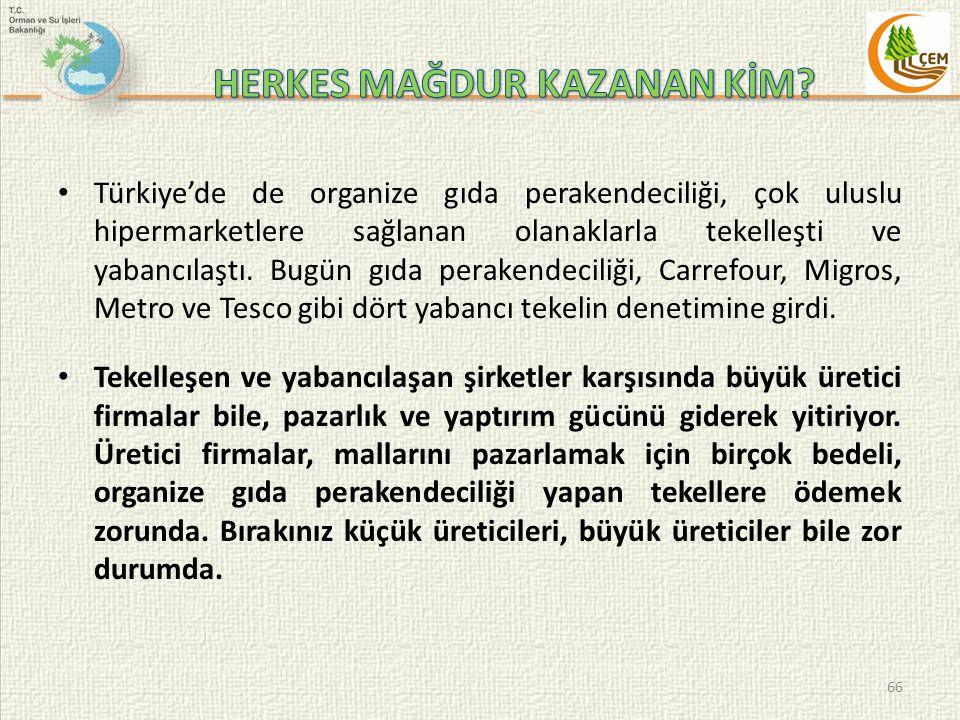 Türkiye'de de organize gıda perakendeciliği, çok uluslu hipermarketlere sağlanan olanaklarla tekelleşti ve yabancılaştı.