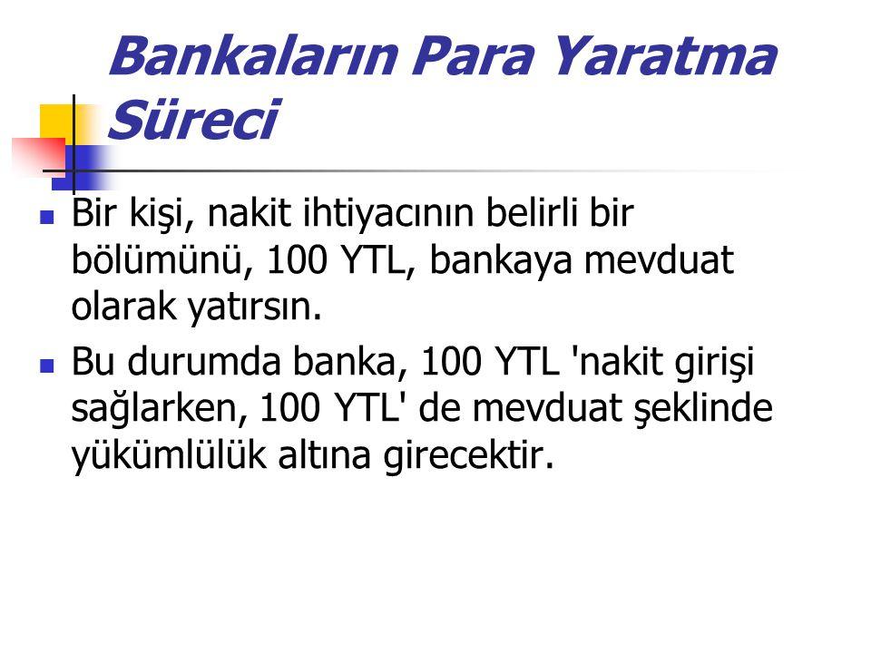 Bankaların Para Yaratma Süreci Bir kişi, nakit ihtiyacının belirli bir bölümünü, 100 YTL, bankaya mevduat olarak yatırsın. Bu durumda banka, 100 YTL '
