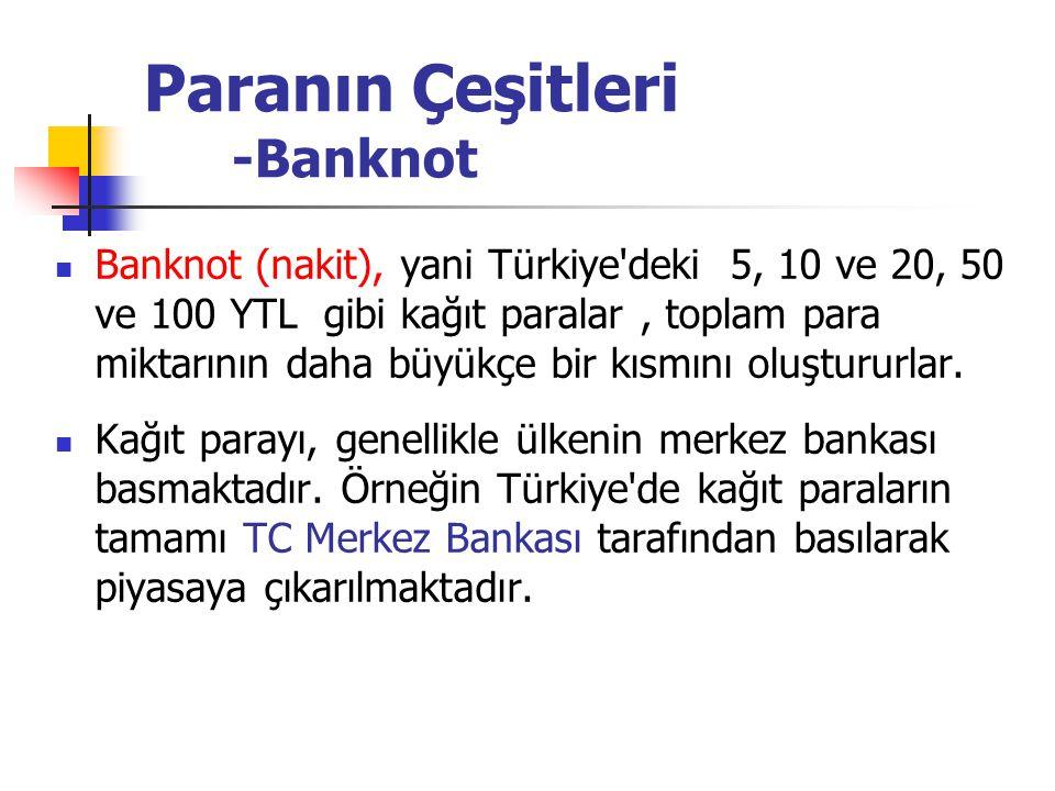Paranın Çeşitleri -Banknot Banknot (nakit), yani Türkiye'deki 5, 10 ve 20, 50 ve 100 YTL gibi kağıt paralar, toplam para miktarının daha büyükçe bir k
