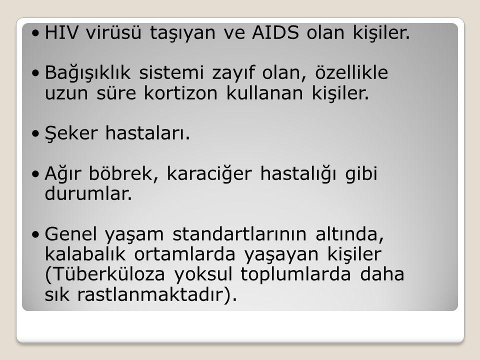 HIV virüsü taşıyan ve AIDS olan kişiler. Bağışıklık sistemi zayıf olan, özellikle uzun süre kortizon kullanan kişiler. Şeker hastaları. Ağır böbrek, k