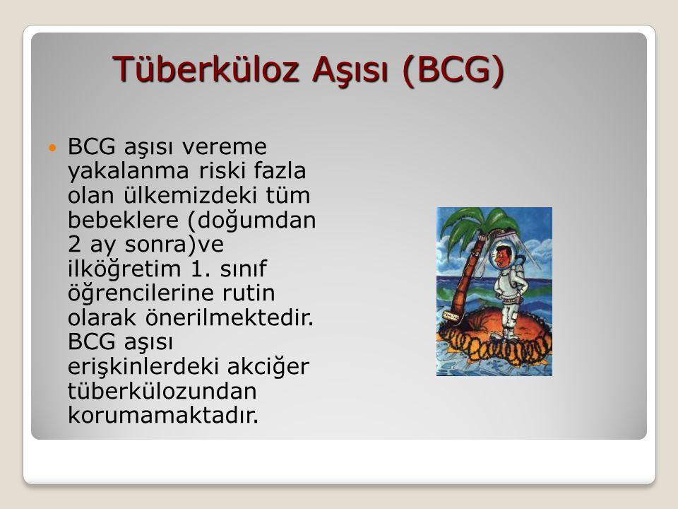 Tüberküloz Aşısı (BCG) BCG aşısı vereme yakalanma riski fazla olan ülkemizdeki tüm bebeklere (doğumdan 2 ay sonra)ve ilköğretim 1. sınıf öğrencilerine