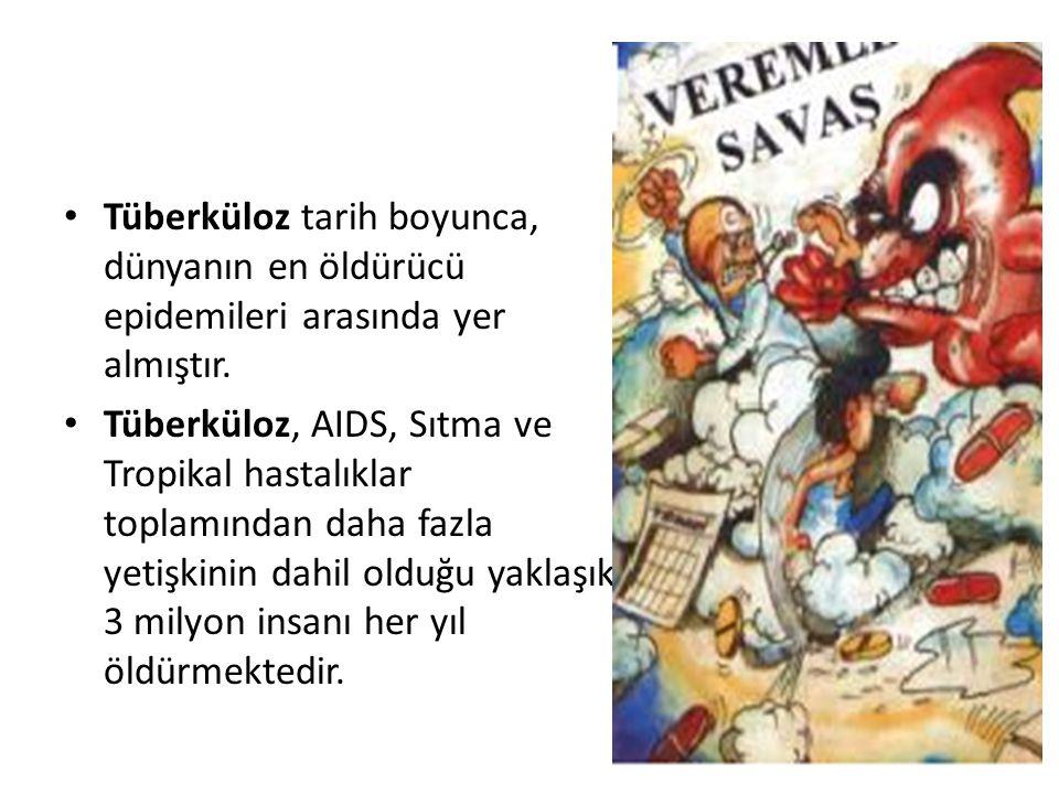 Tüberküloz tarih boyunca, dünyanın en öldürücü epidemileri arasında yer almıştır. Tüberküloz, AIDS, Sıtma ve Tropikal hastalıklar toplamından daha faz