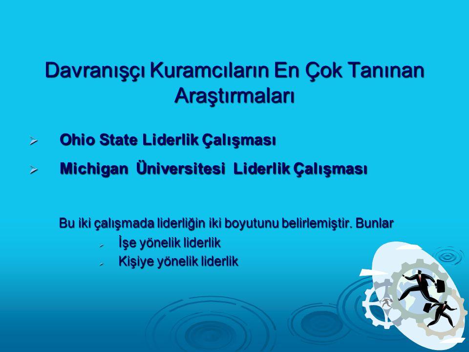 Davranışçı Kuramcıların En Çok Tanınan Araştırmaları  Ohio State Liderlik Çalışması  Michigan Üniversitesi Liderlik Çalışması Bu iki çalışmada lider