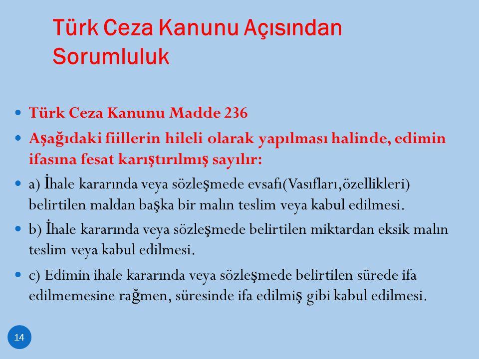 Türk Ceza Kanunu Açısından Sorumluluk 14 Türk Ceza Kanunu Madde 236 A ş a ğ ıdaki fiillerin hileli olarak yapılması halinde, edimin ifasına fesat karı
