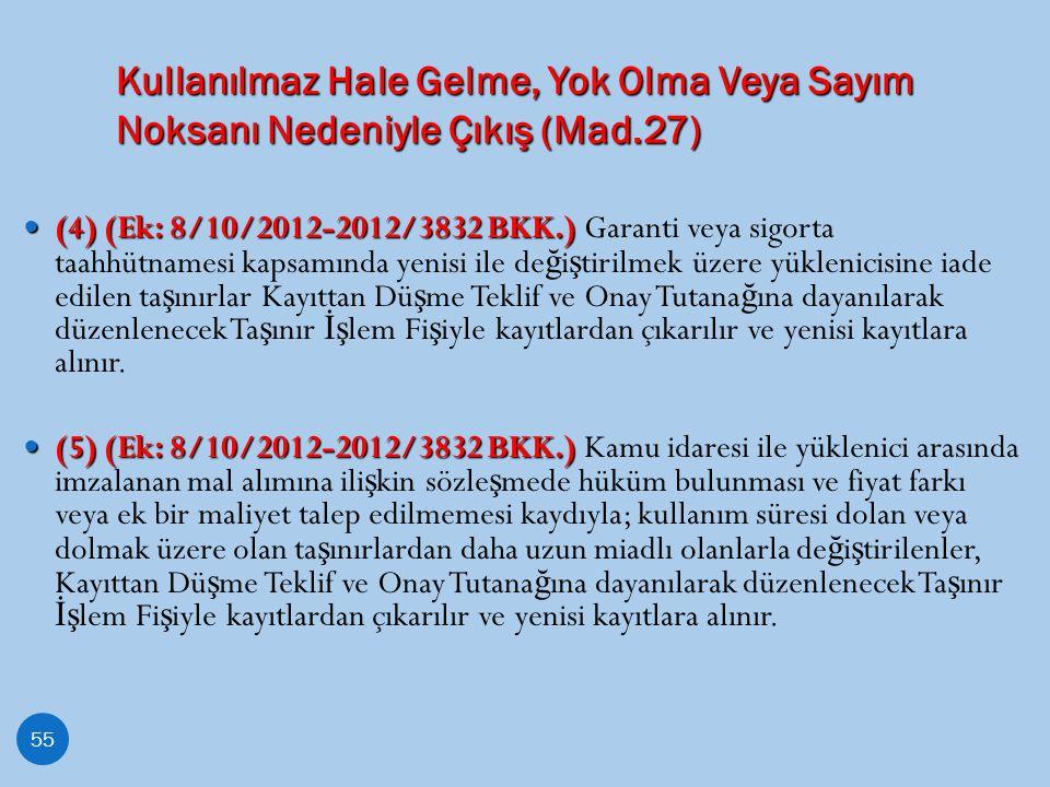 Kullanılmaz Hale Gelme, Yok Olma Veya Sayım Noksanı Nedeniyle Çıkış (Mad.27) 55 (4) (Ek: 8/10/2012-2012/3832 BKK.) (4) (Ek: 8/10/2012-2012/3832 BKK.)