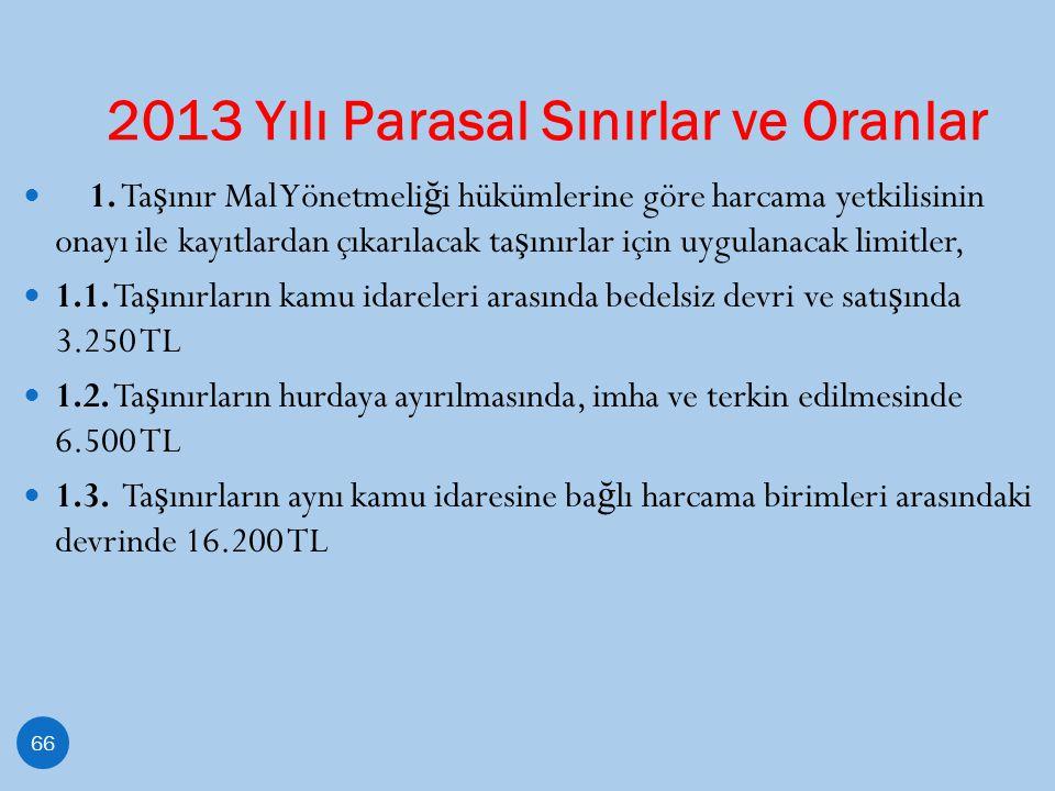 2013 Yılı Parasal Sınırlar ve Oranlar 66 1. Ta ş ınır Mal Yönetmeli ğ i hükümlerine göre harcama yetkilisinin onayı ile kayıtlardan çıkarılacak ta ş ı