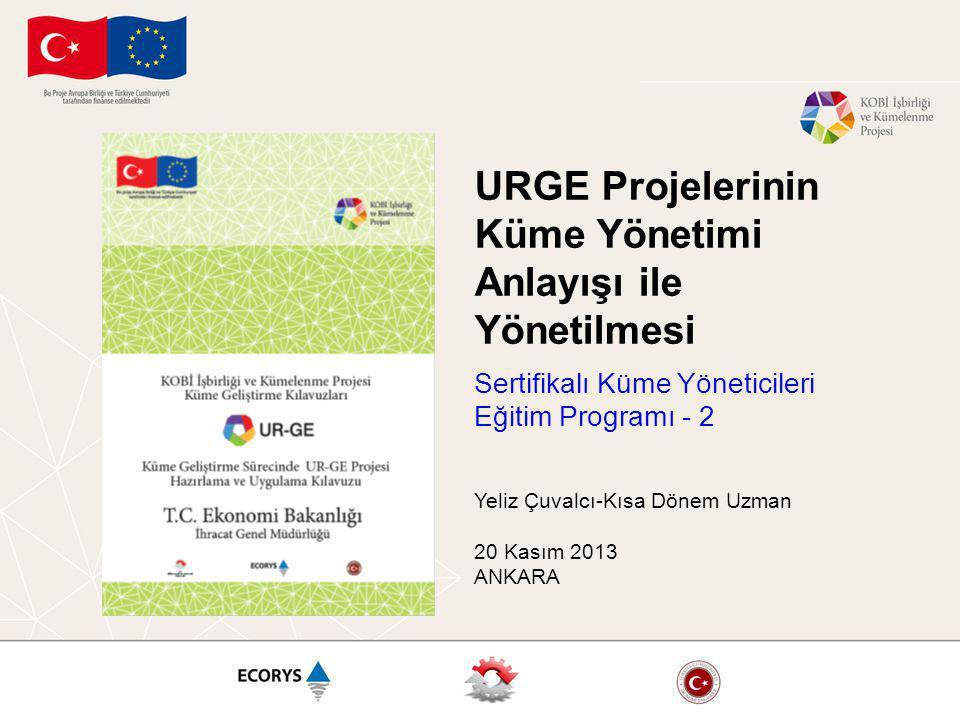 URGE Projelerinin Küme Yönetimi Anlayışı ile Yönetilmesi Sertifikalı Küme Yöneticileri Eğitim Programı - 2 Yeliz Çuvalcı-Kısa Dönem Uzman 20 Kasım 2013 ANKARA
