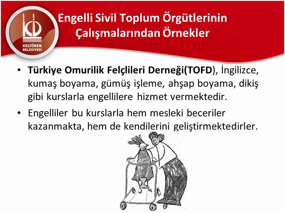 Engelli Sivil Toplum Örgütlerinin Çalışmalarından Örnekler Türkiye Omurilik Felçlileri Derneği(TOFD), İngilizce, kumaş boyama, gümüş işleme, ahşap boy