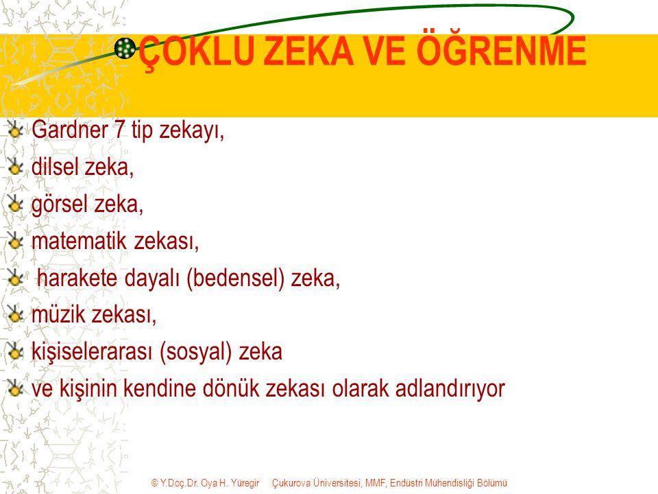 © Y.Doç.Dr. Oya H. Yüregir Çukurova Üniversitesi, MMF, Endüstri Mühendisliği Bölümü ÇOKLU ZEKA VE ÖĞRENME Gardner 7 tip zekayı, dilsel zeka, görsel ze