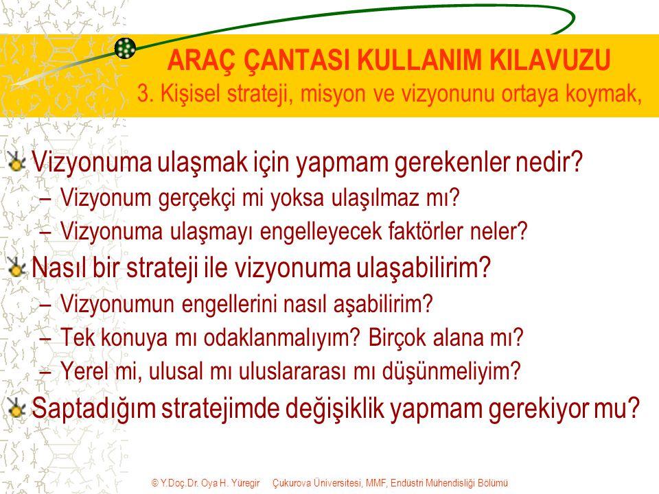 © Y.Doç.Dr. Oya H. Yüregir Çukurova Üniversitesi, MMF, Endüstri Mühendisliği Bölümü ARAÇ ÇANTASI KULLANIM KILAVUZU 3. Kişisel strateji, misyon ve vizy
