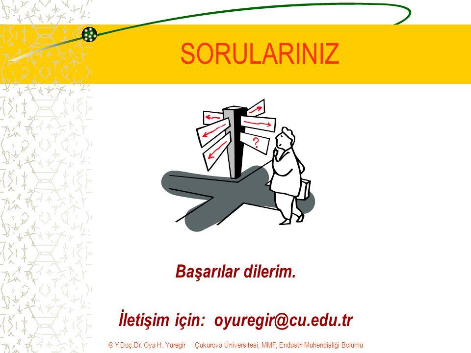 © Y.Doç.Dr. Oya H. Yüregir Çukurova Üniversitesi, MMF, Endüstri Mühendisliği Bölümü SORULARINIZ Başarılar dilerim. İletişim için: oyuregir@cu.edu.tr