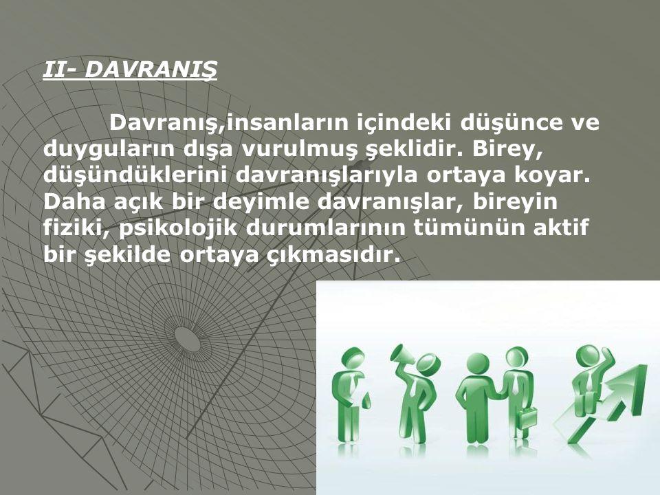 II- DAVRANIŞ Davranış,insanların içindeki düşünce ve duyguların dışa vurulmuş şeklidir. Birey, düşündüklerini davranışlarıyla ortaya koyar. Daha açık