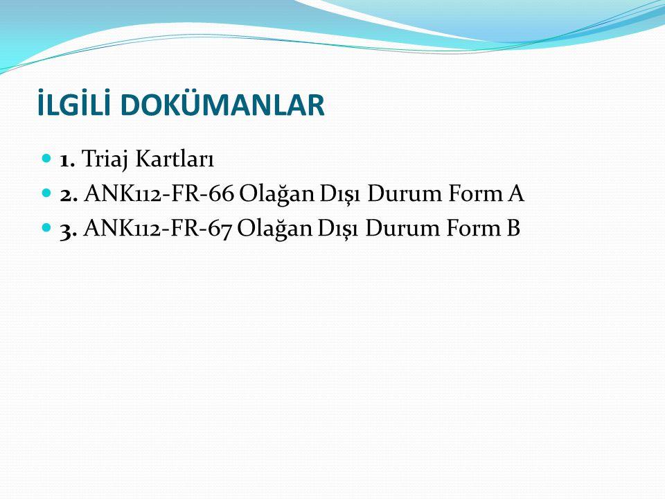 İLGİLİ DOKÜMANLAR 1. Triaj Kartları 2. ANK112-FR-66 Olağan Dışı Durum Form A 3. ANK112-FR-67 Olağan Dışı Durum Form B