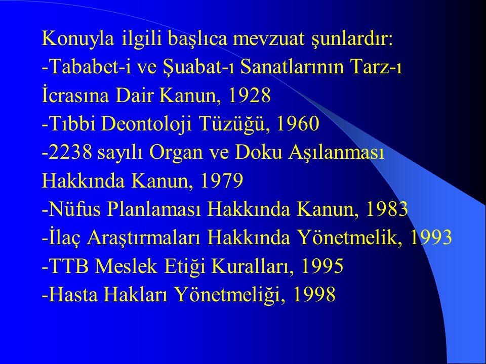 Konuyla ilgili başlıca mevzuat şunlardır: -Tababet-i ve Şuabat-ı Sanatlarının Tarz-ı İcrasına Dair Kanun, 1928 -Tıbbi Deontoloji Tüzüğü, 1960 -2238 sa
