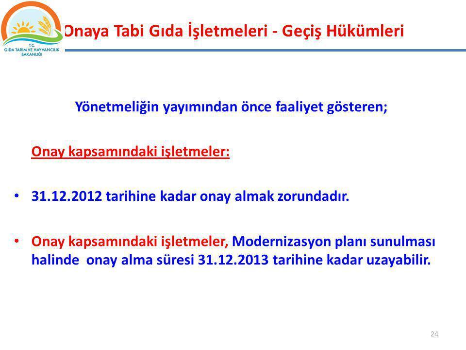 Onaya Tabi Gıda İşletmeleri - Geçiş Hükümleri Yönetmeliğin yayımından önce faaliyet gösteren; Onay kapsamındaki işletmeler: 31.12.2012 tarihine kadar