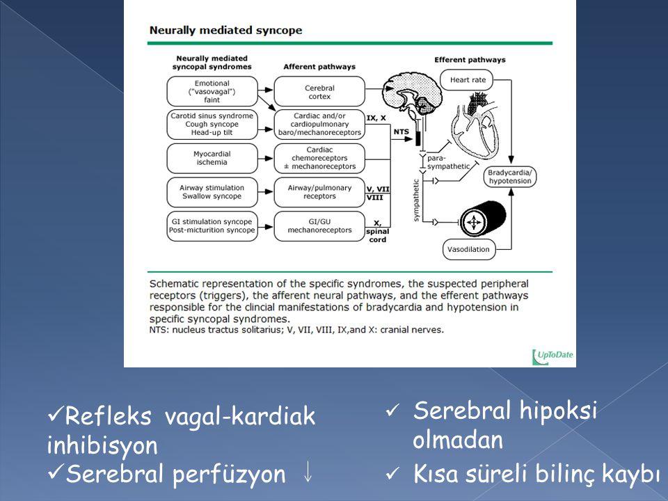 Serebral hipoksi olmadan Kısa süreli bilinç kaybı Refleks vagal-kardiak inhibisyon Serebral perfüzyon