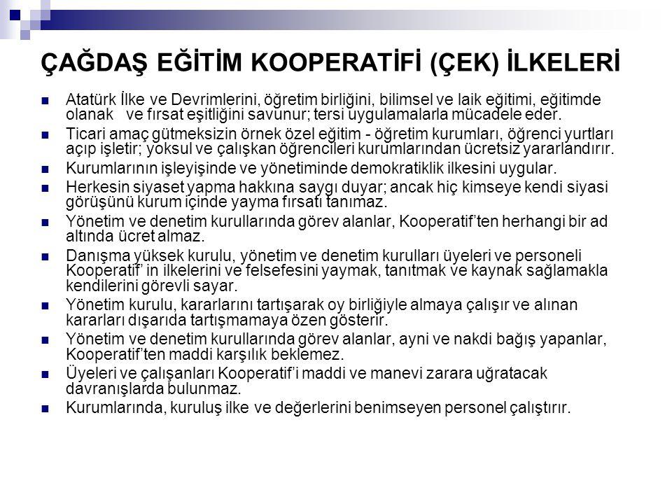ÇAĞDAŞ EĞİTİM KOOPERATİFİ (ÇEK) İLKELERİ Atatürk İlke ve Devrimlerini, öğretim birliğini, bilimsel ve laik eğitimi, eğitimde olanak ve fırsat eşitliği