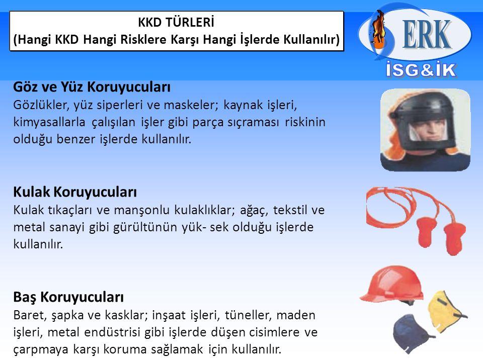 KKD TÜRLERİ (Hangi KKD Hangi Risklere Karşı Hangi İşlerde Kullanılır) Göz ve Yüz Koruyucuları Gözlükler, yüz siperleri ve maskeler; kaynak işleri, kimyasallarla çalışılan işler gibi parça sıçraması riskinin olduğu benzer işlerde kullanılır.