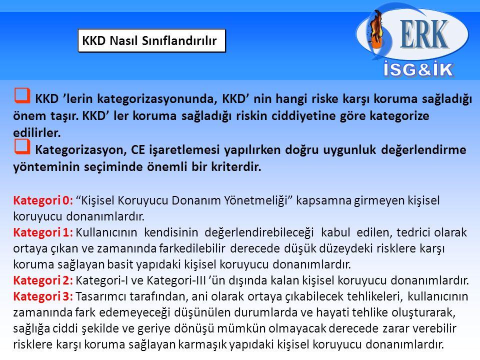 KKD Nasıl Sınıflandırılır  KKD 'lerin kategorizasyonunda, KKD' nin hangi riske karşı koruma sağladığı önem taşır.