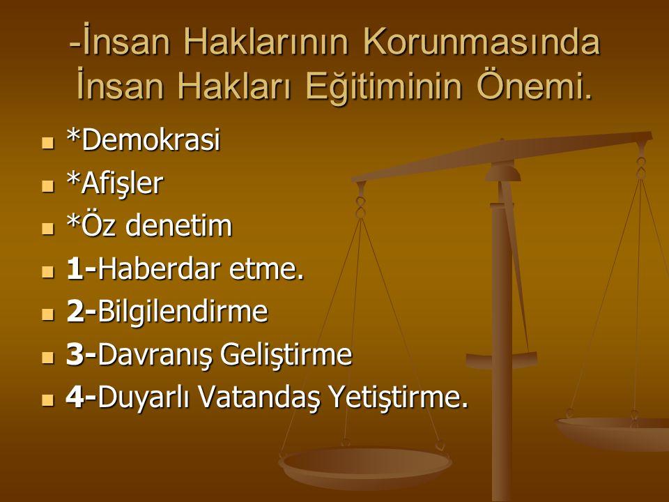 -İnsan Haklarının Korunmasında İnsan Hakları Eğitiminin Önemi. *Demokrasi *Demokrasi *Afişler *Afişler *Öz denetim *Öz denetim 1-Haberdar etme. 1-Habe