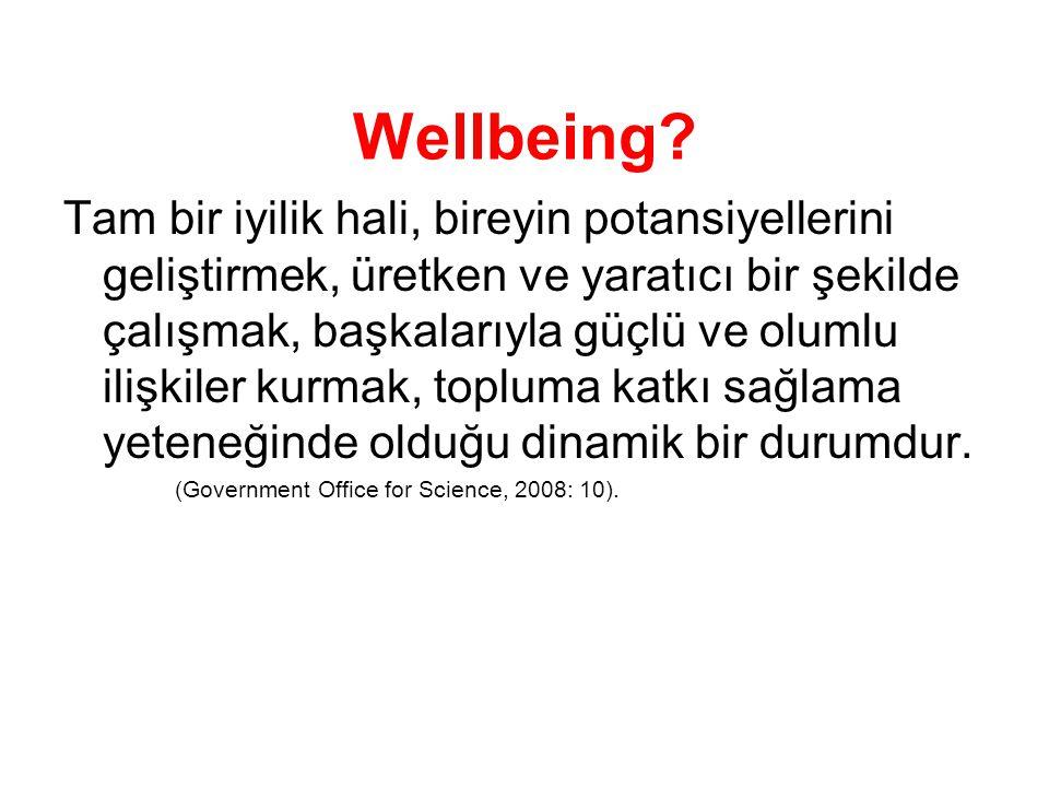 Physical wellbeing: Banyo, giyinme, yemek ve hareket etme gibi etkinlikleri normal birşekilde yapabilme Mental wellbeing: Bu bilişsel melekeleri sağlam olması ve hastada korku, anksiyete, stres, depresyon veya diğer olumsuz duygular bulunmaması Social wellbeing:Aile, toplum, arkadaşlar ve iş arkadaşları ile ortak faaliyetler yapabilme ve meşgul olma yeteneği
