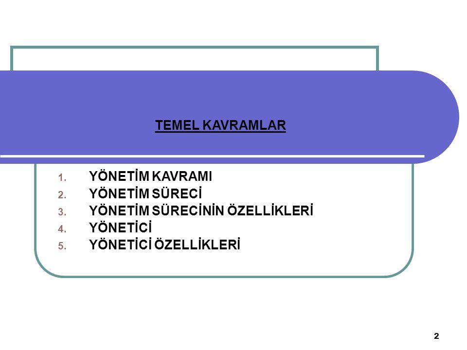 2 TEMEL KAVRAMLAR 1.YÖNETİM KAVRAMI 2. YÖNETİM SÜRECİ 3.
