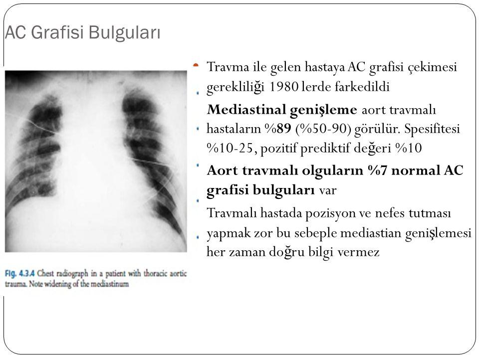 AC Grafisi Bulguları Travma ile gelen hastaya AC grafisi çekimesi gereklili ğ i 1980 lerde farkedildi Mediastinal geni ş leme aort travmalı hastaların