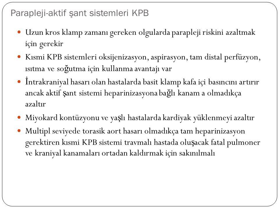 Parapleji-aktif şant sistemleri KPB Uzun kros klamp zamanı gereken olgularda parapleji riskini azaltmak için gerekir Kısmi KPB sistemleri oksijenizasy