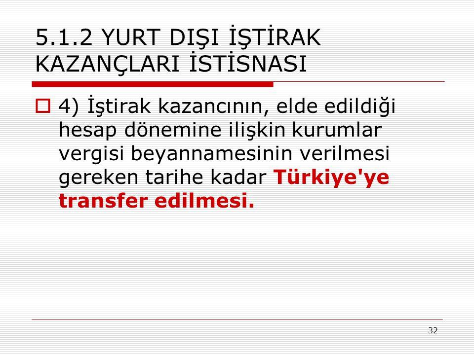 32 5.1.2 YURT DIŞI İŞTİRAK KAZANÇLARI İSTİSNASI  4) İştirak kazancının, elde edildiği hesap dönemine ilişkin kurumlar vergisi beyannamesinin verilmesi gereken tarihe kadar Türkiye ye transfer edilmesi.