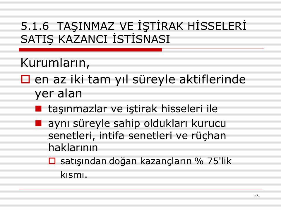 39 5.1.6 TAŞINMAZ VE İŞTİRAK HİSSELERİ SATIŞ KAZANCI İSTİSNASI Kurumların,  en az iki tam yıl süreyle aktiflerinde yer alan taşınmazlar ve iştirak hisseleri ile aynı süreyle sahip oldukları kurucu senetleri, intifa senetleri ve rüçhan haklarının  satışından doğan kazançların % 75 lik kısmı.