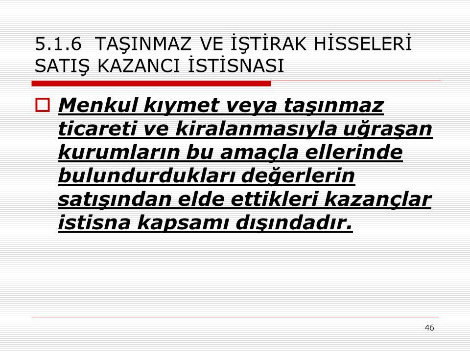46 5.1.6 TAŞINMAZ VE İŞTİRAK HİSSELERİ SATIŞ KAZANCI İSTİSNASI  Menkul kıymet veya taşınmaz ticareti ve kiralanmasıyla uğraşan kurumların bu amaçla e