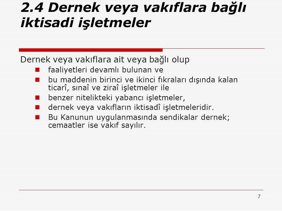 38 5.1.5 TÜRKİYEDE KURULU FONLAR İLE YATIRIM ORTAKLARININ KAZANÇLARINA İLİŞKİN İSTİSNA  d) Türkiye de kurulu;  1) Menkul kıymetler yatırım fonları veya ortaklıklarının portföy işletmeciliğinden doğan kazançları,  2) Portföyü Türkiye de kurulu borsalarda işlem gören altın ve kıymetli madenlere dayalı yatırım fonları veya ortaklıklarının portföy işletmeciliğinden doğan kazançları,  3) Girişim sermayesi yatırım fonları veya ortaklıklarının kazançları,  4) Gayrimenkul yatırım fonları veya ortaklıklarının kazançları,  5) Emeklilik yatırım fonlarının kazançları,  6) Konut finansmanı fonları ile varlık finansmanı fonlarının kazançları.