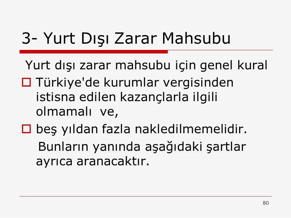 80 3- Yurt Dışı Zarar Mahsubu Yurt dışı zarar mahsubu için genel kural  Türkiye'de kurumlar vergisinden istisna edilen kazançlarla ilgili olmamalı ve