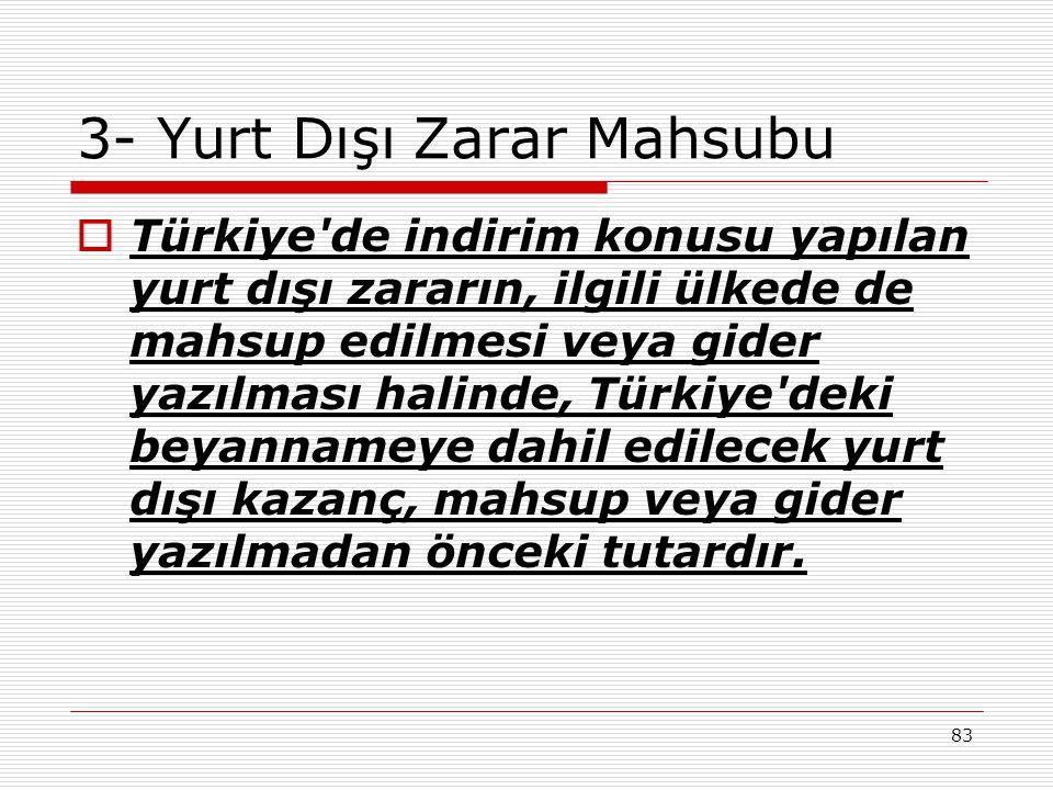 83 3- Yurt Dışı Zarar Mahsubu  Türkiye'de indirim konusu yapılan yurt dışı zararın, ilgili ülkede de mahsup edilmesi veya gider yazılması halinde, Tü
